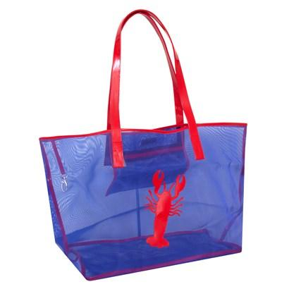 Navy mesh Madison tote with red lobster