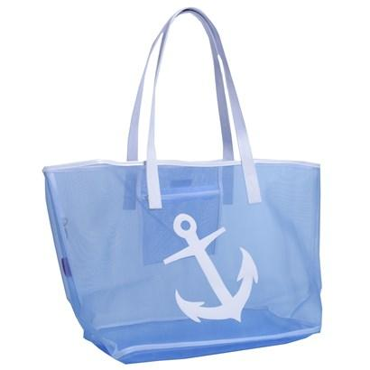 Blue Madison Mesh Tote with White Anchor