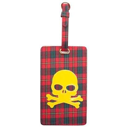 Luggage tag in red plaid with yellow skull