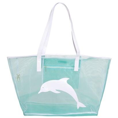 Turquoise Madison Mesh Tote with Dolphin