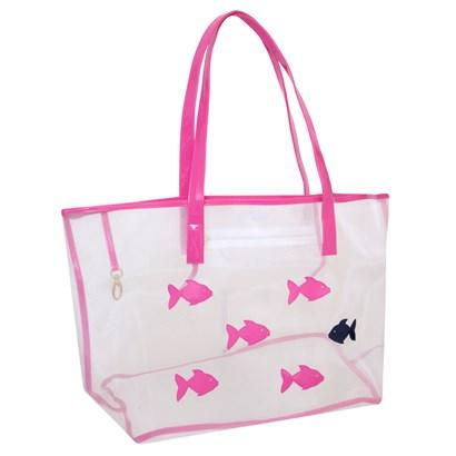 White mesh Madison tote with school of fish in pink and one navy fish