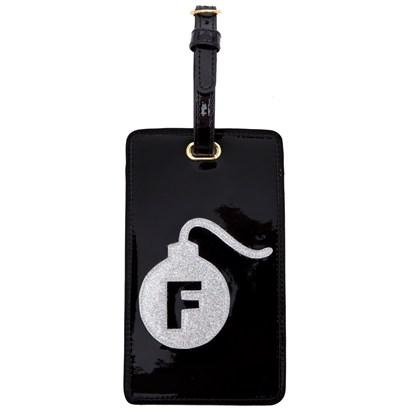 Luggage tag in black with silver glitter F bomb