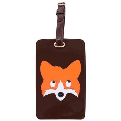 Luggage tag in chocolate with multicolor fox