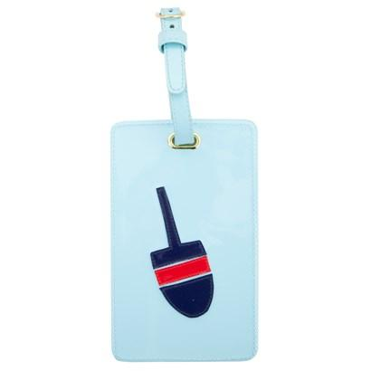 Luggage tag in light blue with multicolor buoy