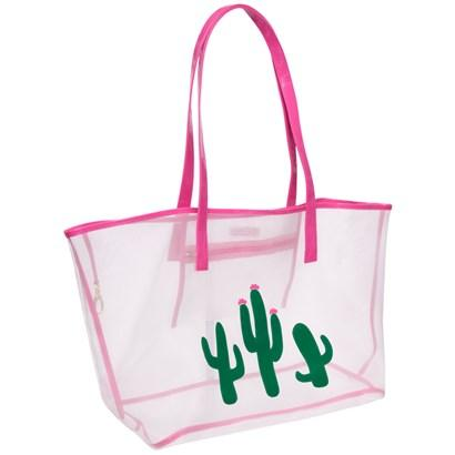 White Madison Mesh Tote with Cacti and Pink Flower