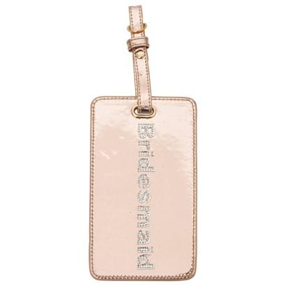 Luggage tag in rose gold with shiny silver bridesmaid