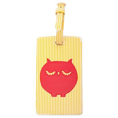 Luggage tag in yellow stripes with red owl