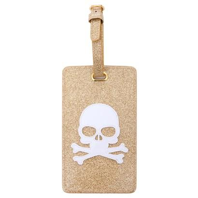 Luggage tag in gold glitter with white skull