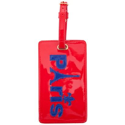 Luggage tag in red with navy Paris