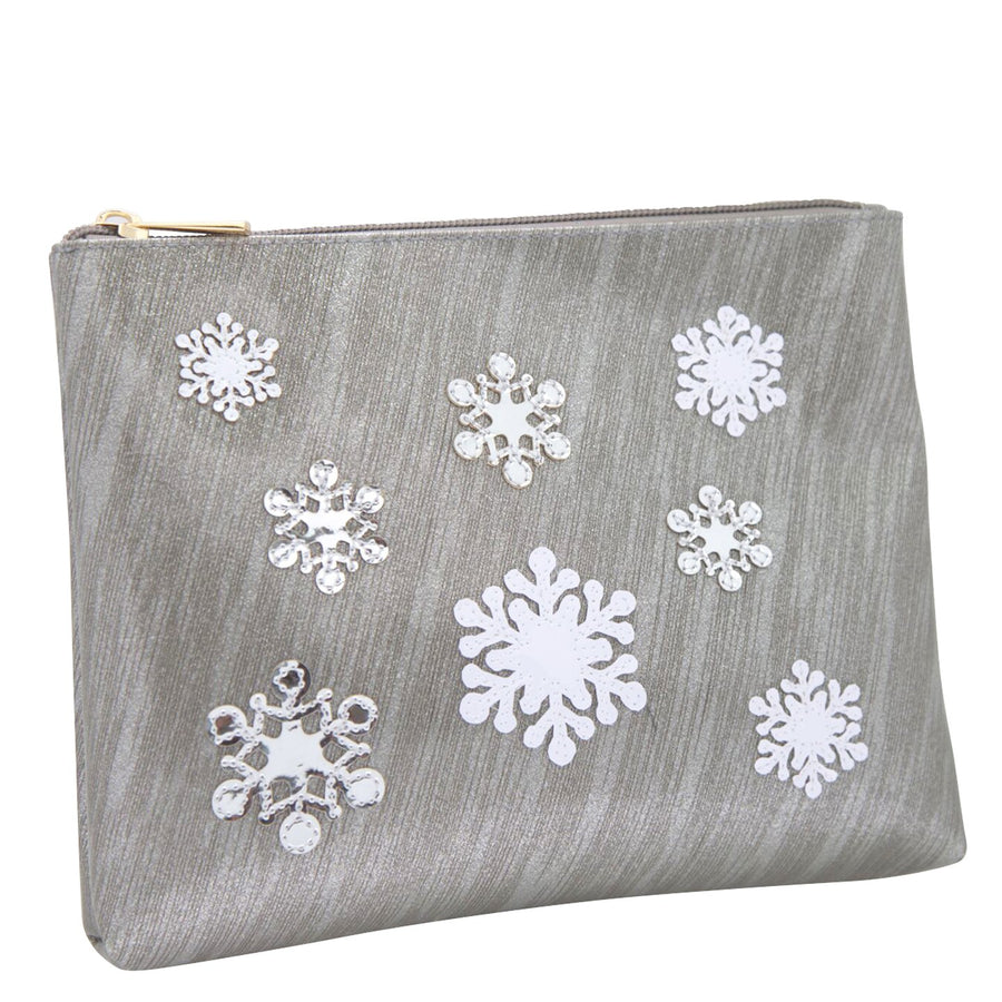 Scattered Snowflakes on Vinyl Cosmetic Bag