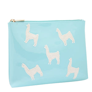 Alice in light blue with white fur llamas