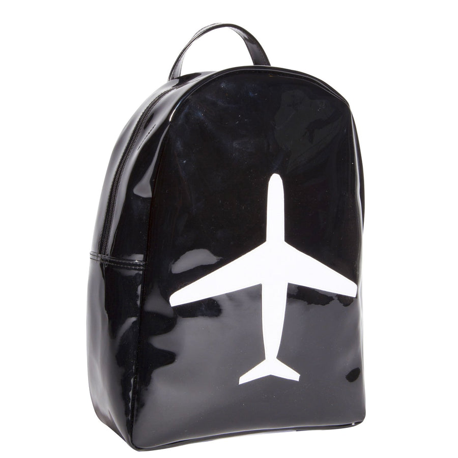 Leila backpack in black with white airplane
