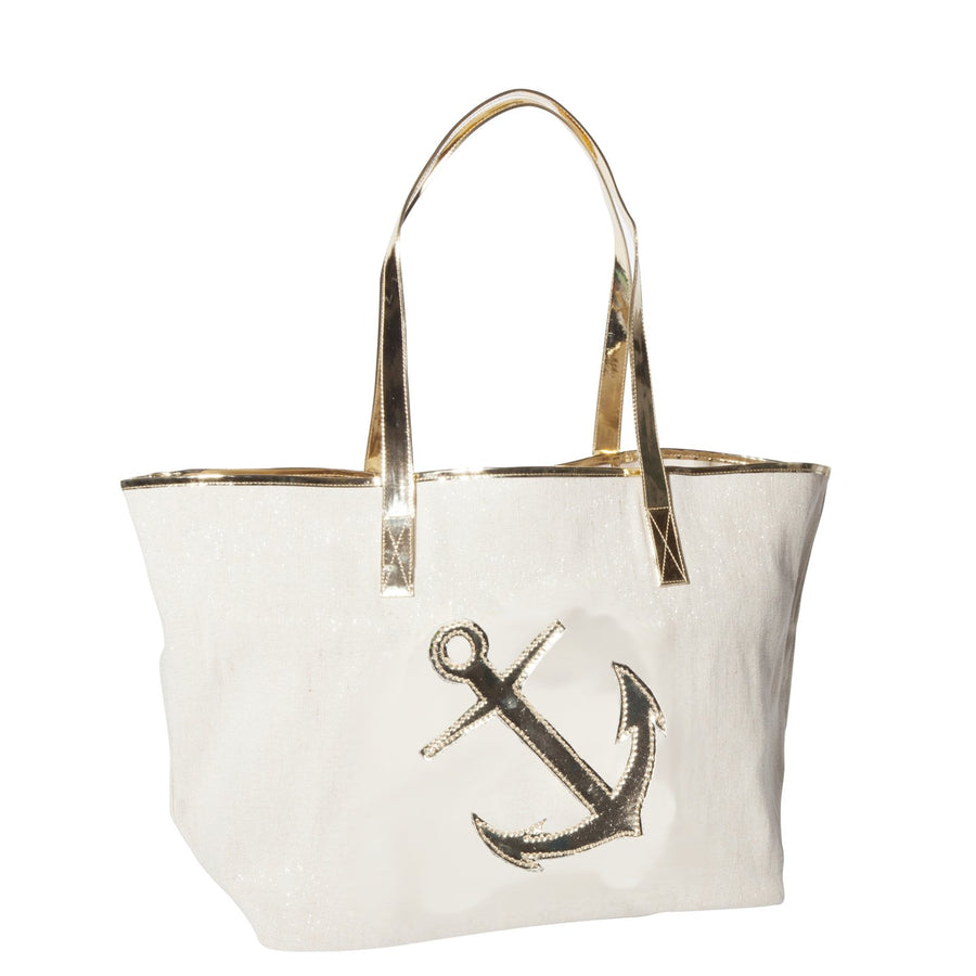Canvas Madison Tote with Shiny Gold Anchor