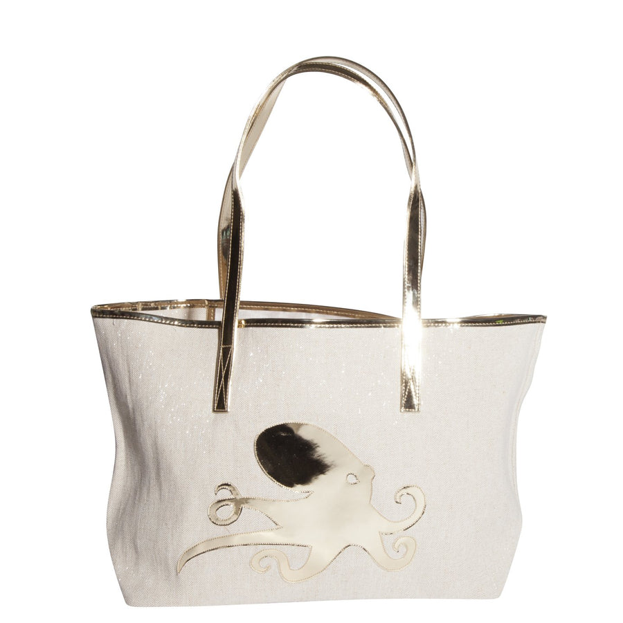 Canvas Tote with Gold Octopus