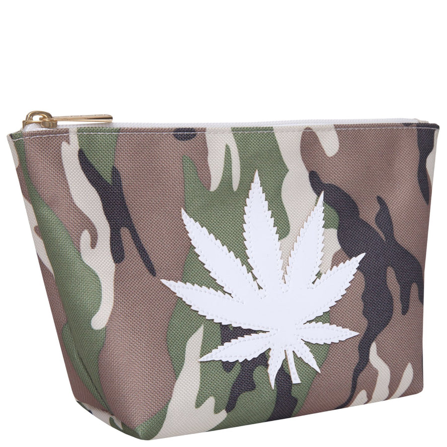 Medium Avery in camo with white pot leaf