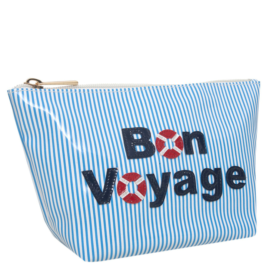 Medium Avery in blue stripes with bon voyage