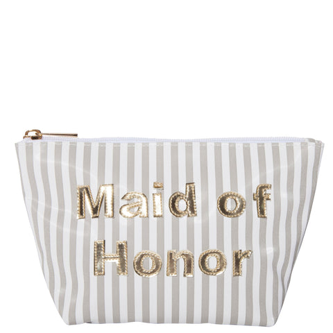 Medium Avery in wide gray stripes with shiny gold maid of honor
