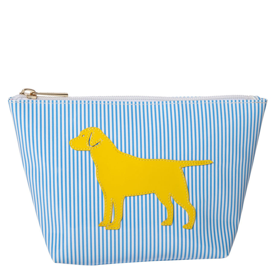 Medium Avery in blue stripes with yellow lab