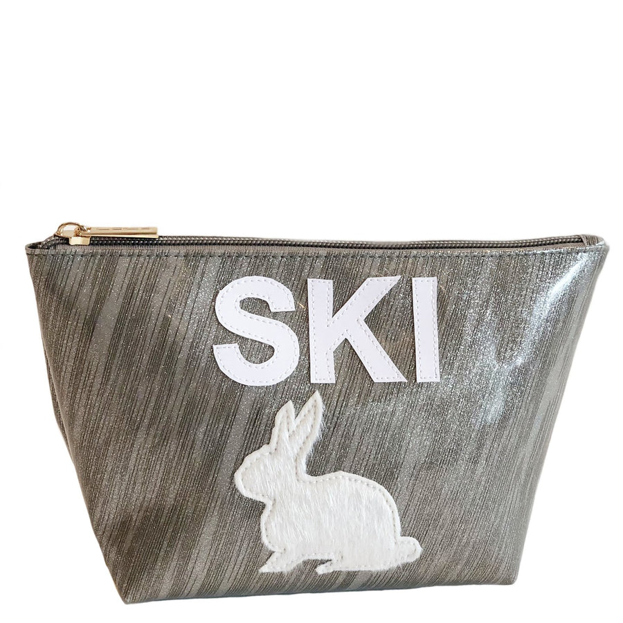Medium Avery in gunmetal sideway stripes with ski bunny