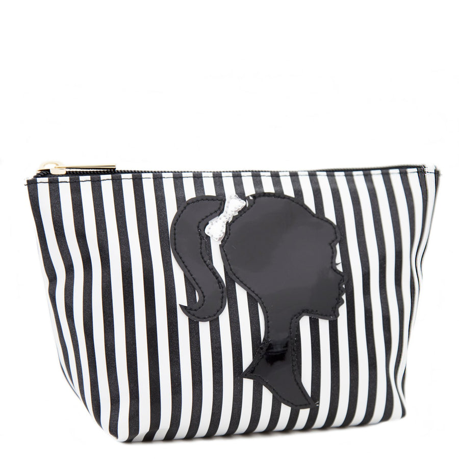 Medium Avery in black wide stripes with black pony tail silhouette