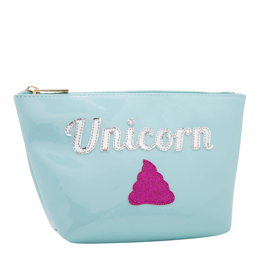 Medium Avery in light blue with multicolor unicorn poop
