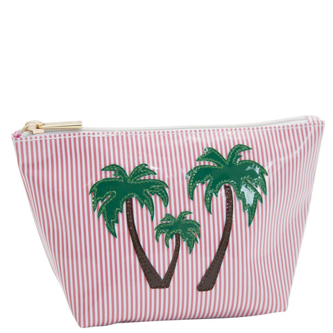 Medium Avery in pink stripes with palm trees