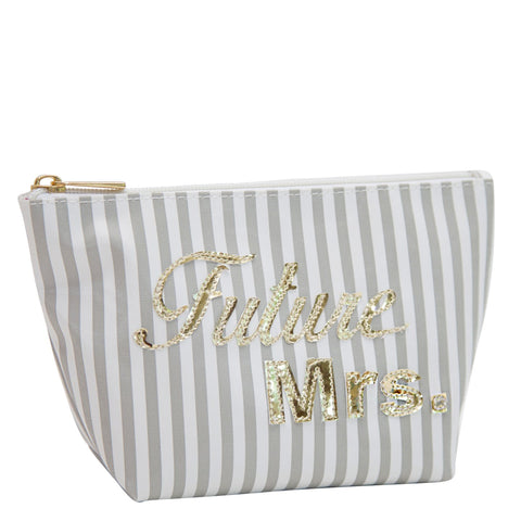 Medium Avery in wide grey stripes with shiny gold future Mrs.