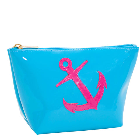 Medium Avery in turquoise with pink anchor