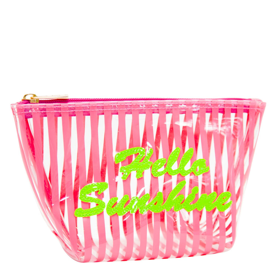 Medium Avery in clear pink stripe with green hello sunshine