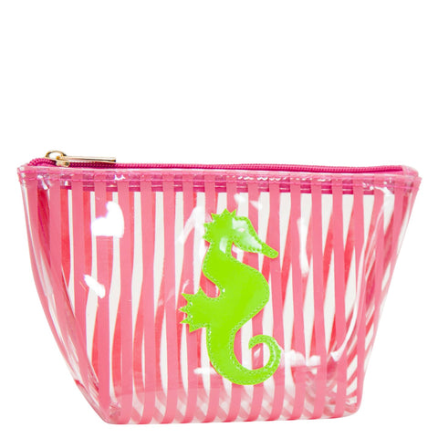 Medium Avery in clear pink stripe with green seahorse