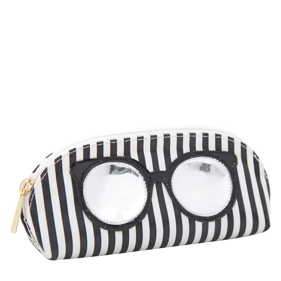 Sunglass case in wide black stripes with round sunglasses