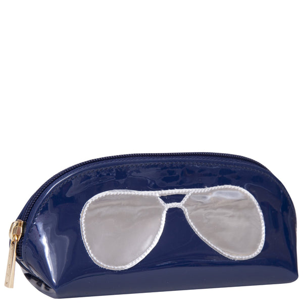 Sunglass case in navy with shiny silver aviators