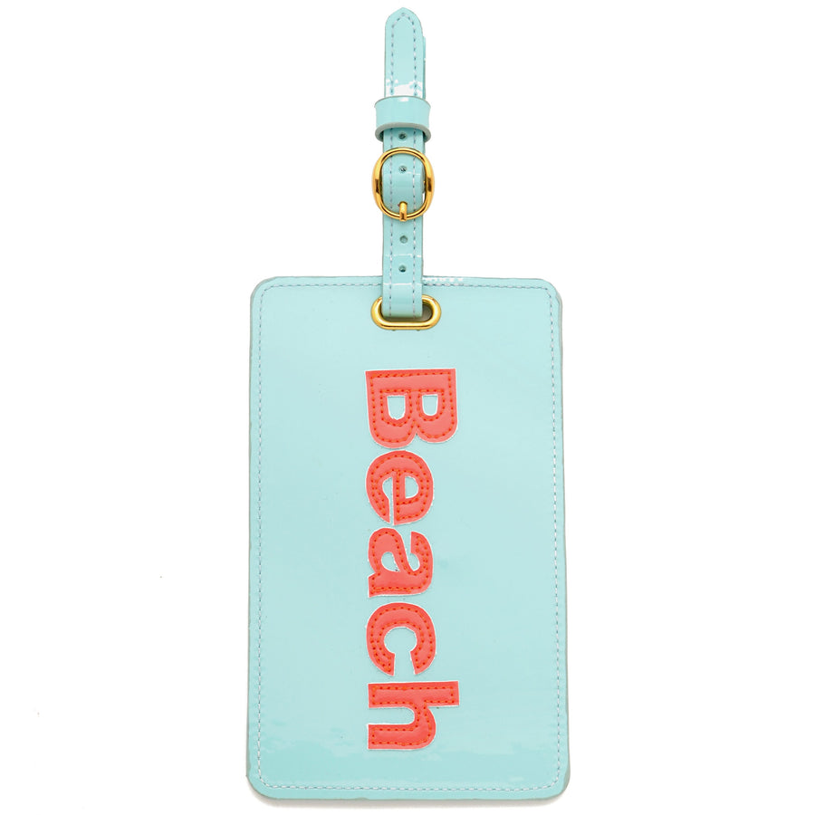 Luggage tag in light blue with watermelon beach