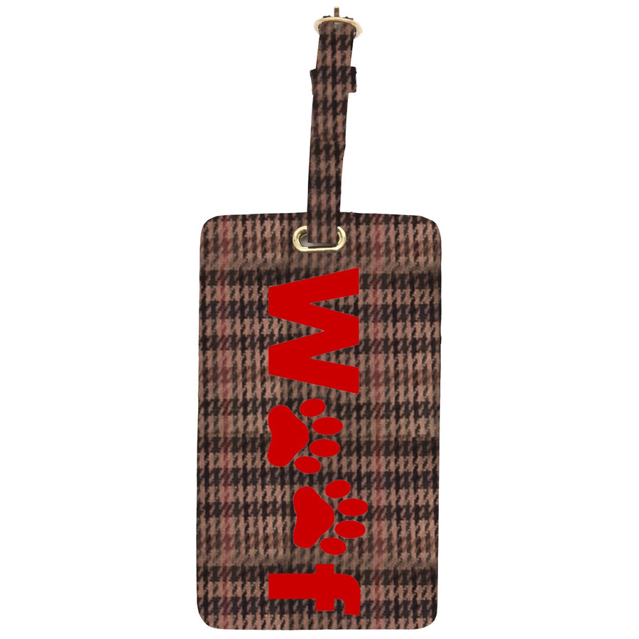 Luggage tag in tattersall with red woof