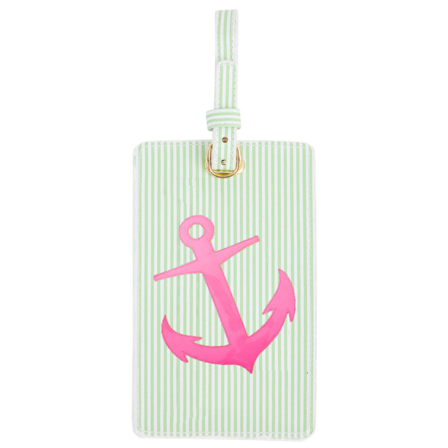 Luggage tag in green stripes with pink anchor