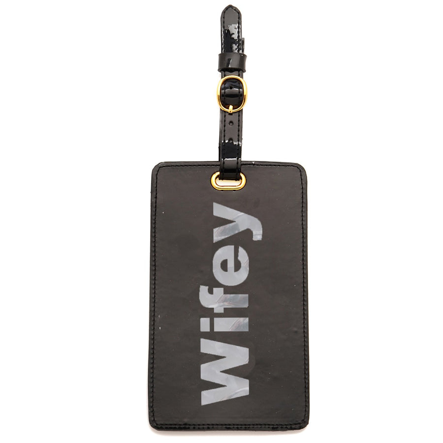 Luggage tag in black with shiny silver wifey