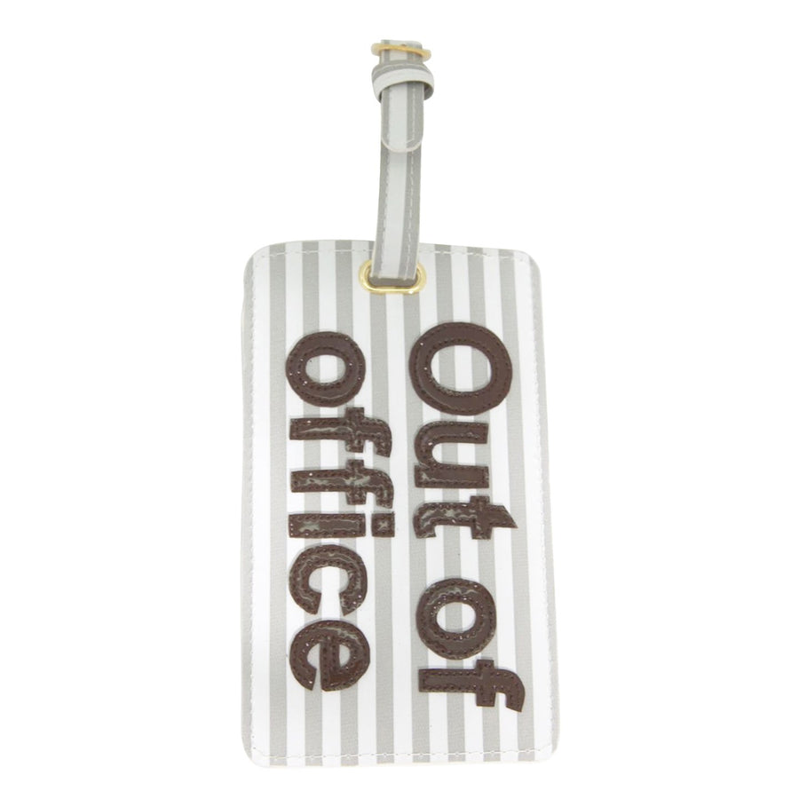 Luggage tag in wide gray sripes with chocolate out of office