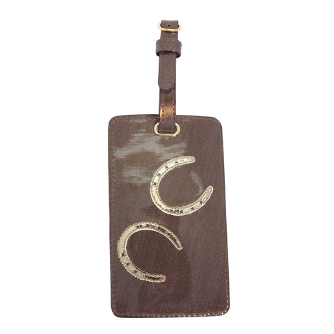 Luggage tag in bronze sideway stripes with shiny gold horseshoe