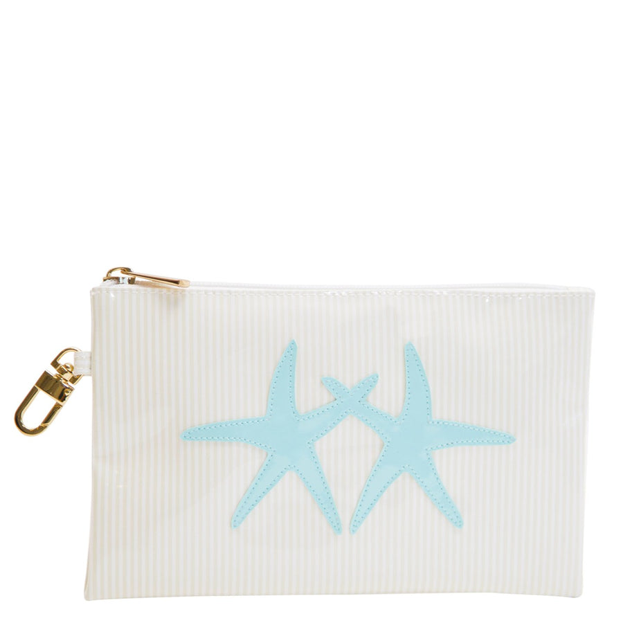 Logan in blush stripes with light blue double starfish