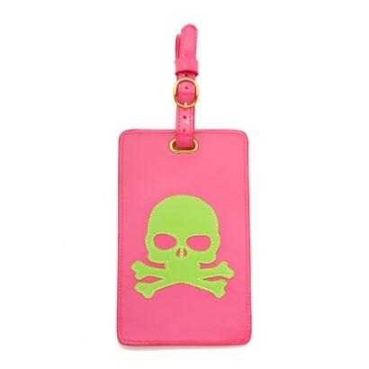 Luggage tag in pink with green skull