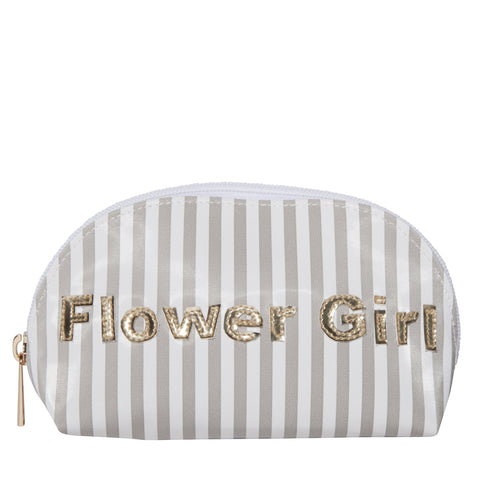 Small Molly in wide gray stripes with shiny gold flower girl