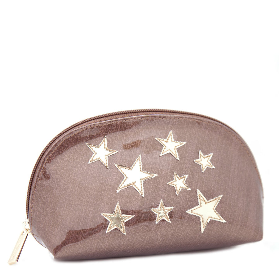 Small Molly in bronze sideways stripes with shiny gold stars