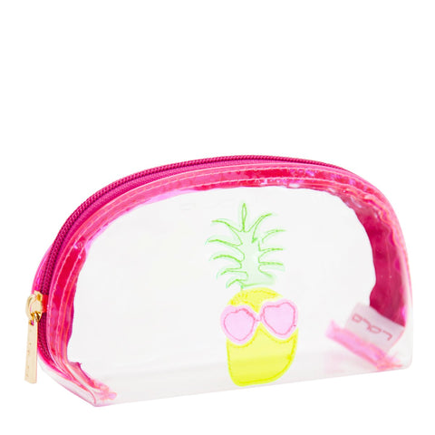 Small Molly in clear with neon pineapple and heart sunglasses