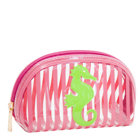 Small Molly in clear pink stripes with green seahorse