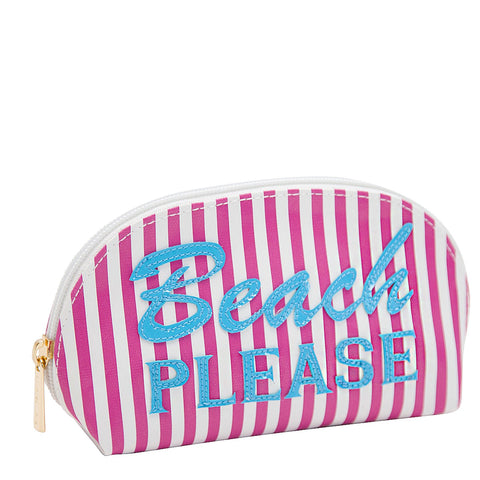 Small Molly in wide pink stripes with turquoise beach please