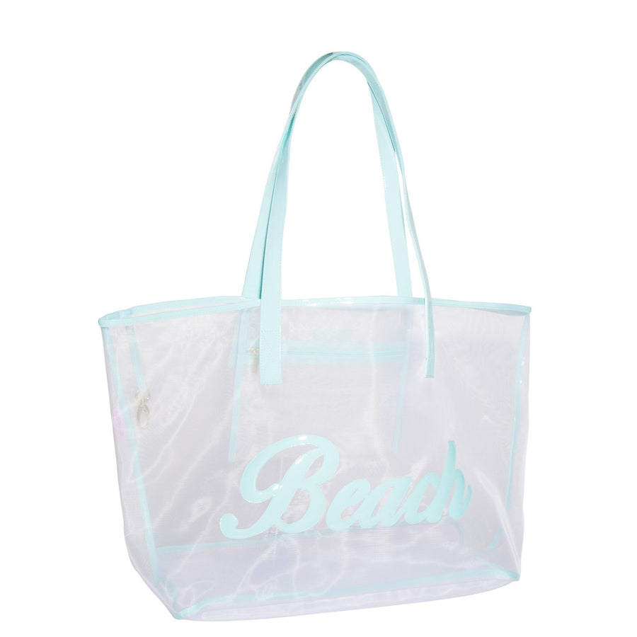 White Mesh Madison Tote with  Lt Blue Beach in Script