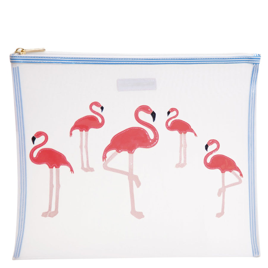 Lydia mesh in white with flamingos