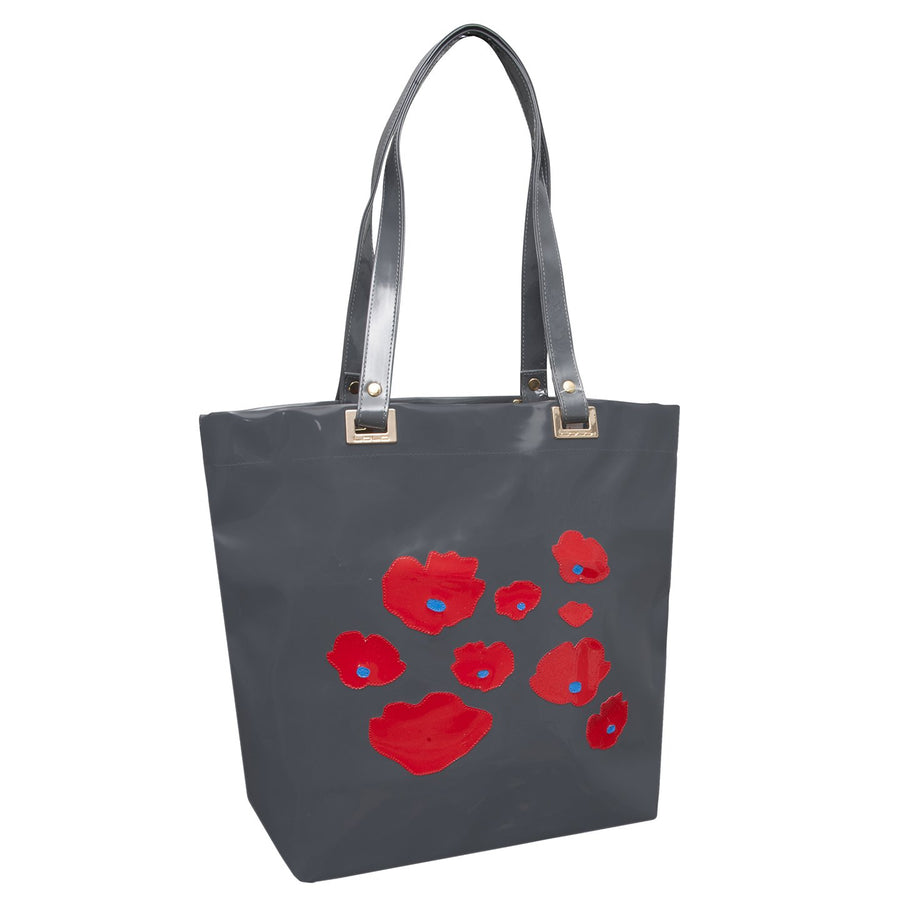 Randall tote in charcoal with red poppies