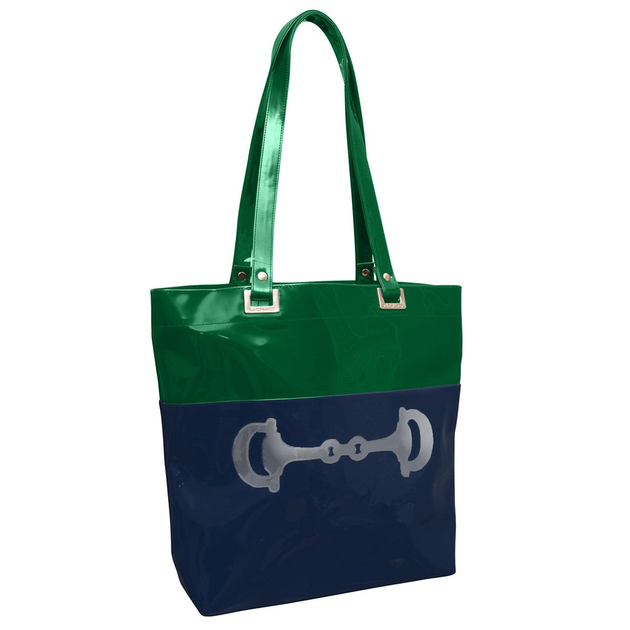 Randall tote in navy and hunter with shiny silver horsebit