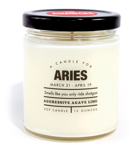 "Aries Candle ""Smells like you only ride shotgun"""